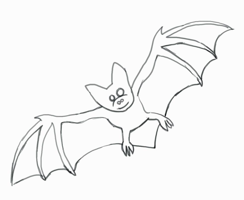 Фото как рисовать летучую мышь