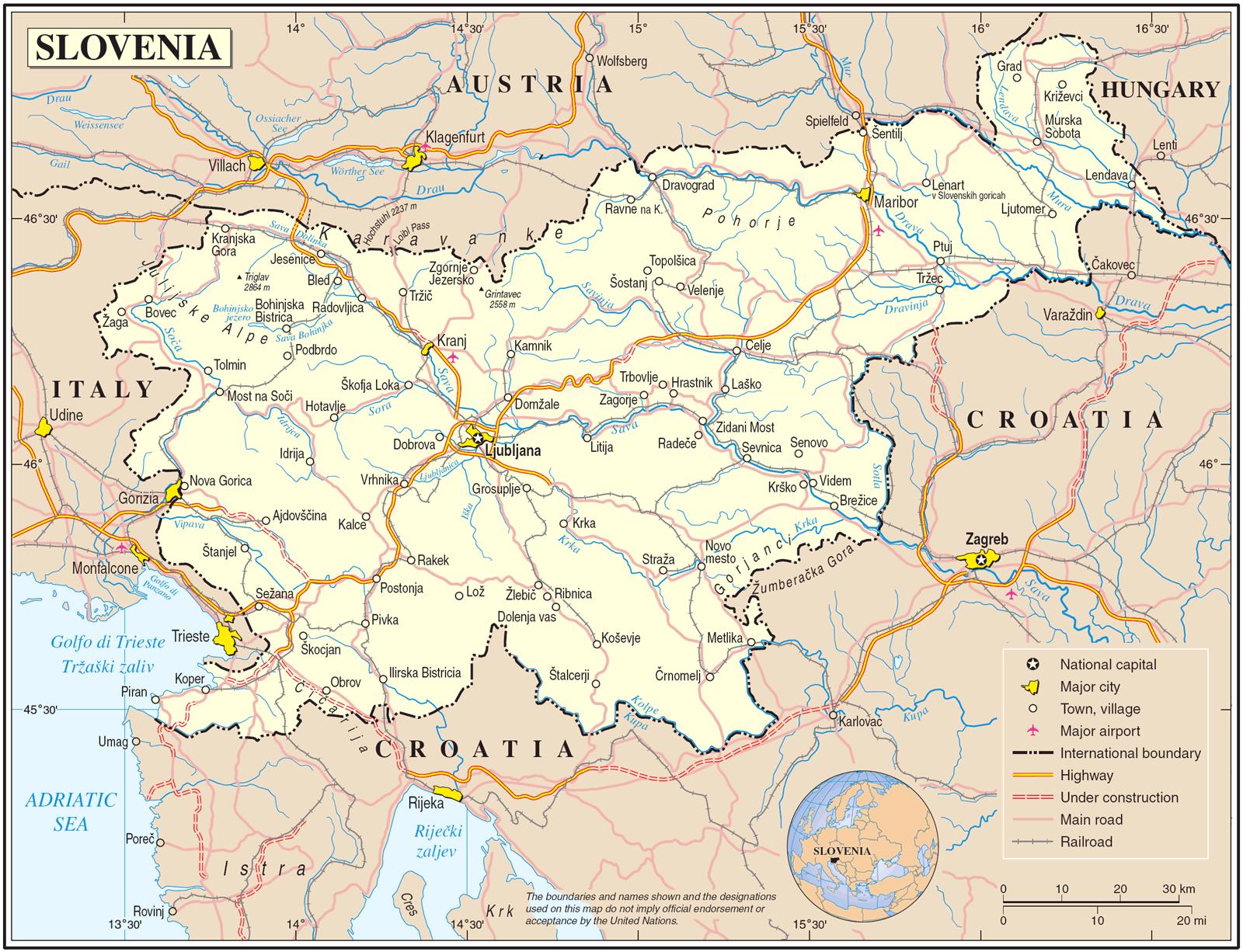 slovenija mapa Prosječna plata u Sloveniji   Sveznan slovenija mapa
