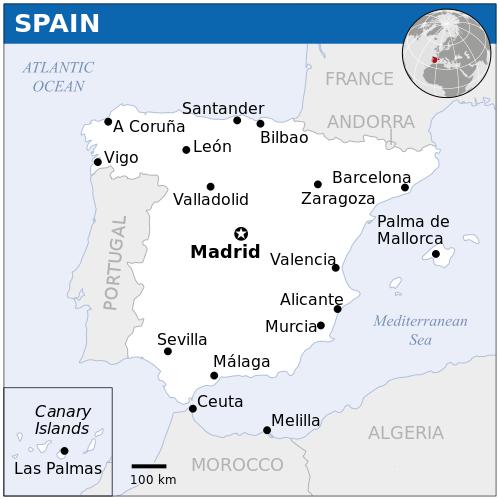 spanija mapa Prosječna plata u Španiji   Sveznan spanija mapa